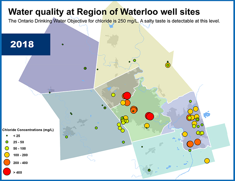 map showing chlorine levels in wells in 2018
