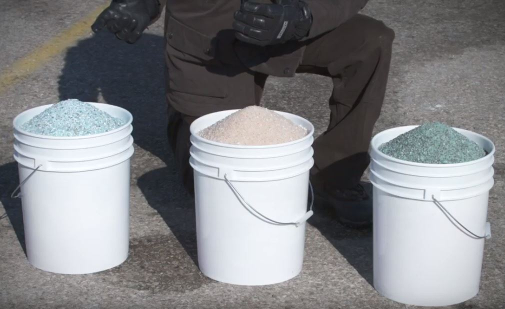 three buckets with different types of salt