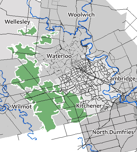 Map of Waterloo Region showing recharge areas of the Waterloo Moraine.