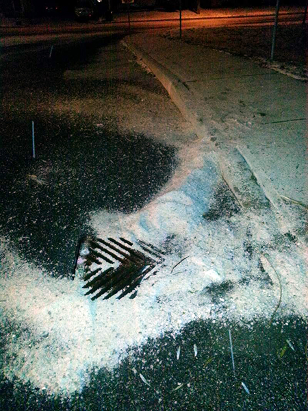 Salt poured down a storm drain that connects with the local water system.